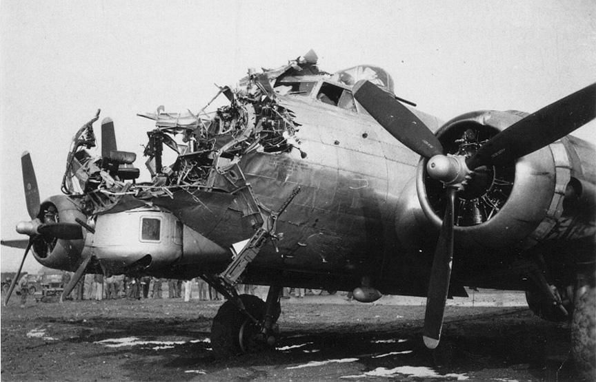 1st Lt. Lawrence DeLancey's crippled B-17 at Nuthampstead October 15, 1944