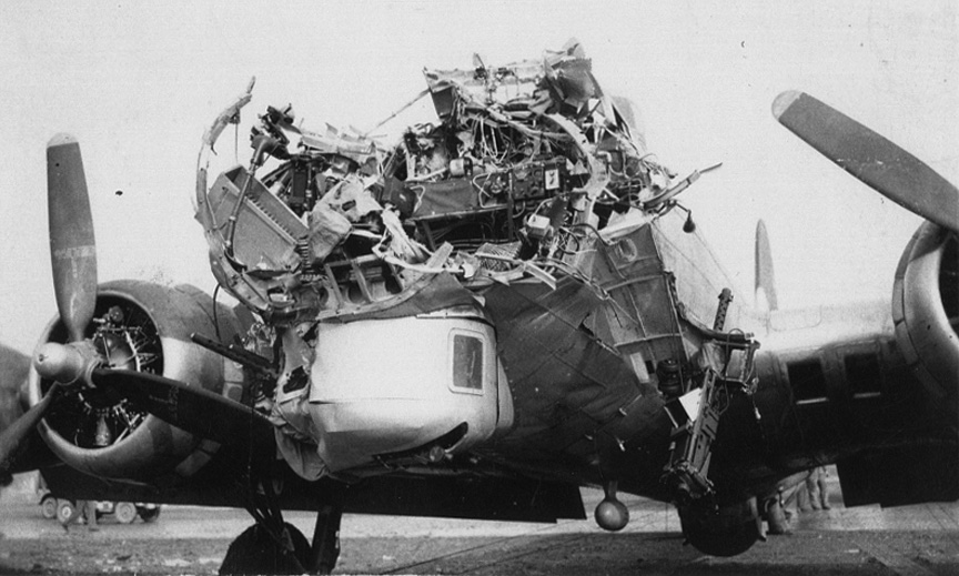 Front View DeLancey crippled B-17
